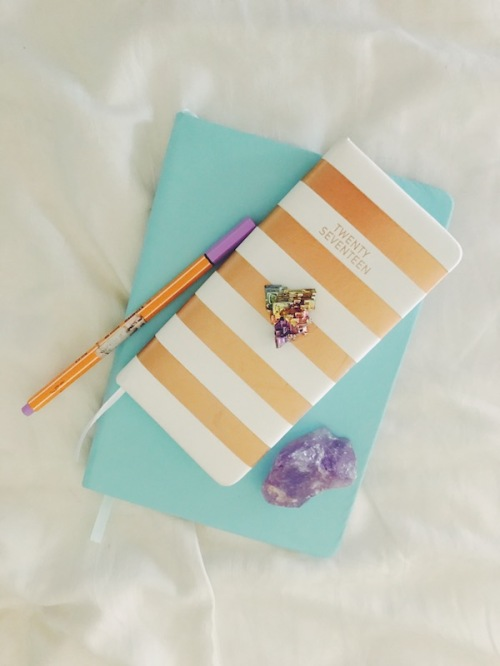purple and rainbow crystal and diary planner