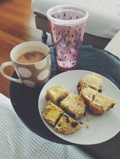 scones with morning tea and water