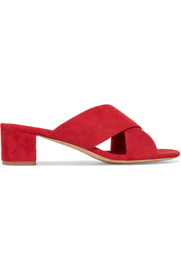 mansur gavriel suede red mule sandals